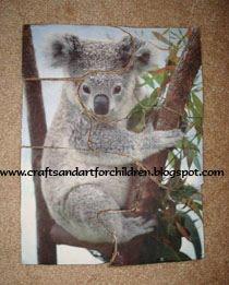 Homemade Cardboard Puzzle - Koala Craft for Kids