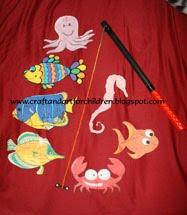 Toddler game activity, homemade fun, children's fishing game