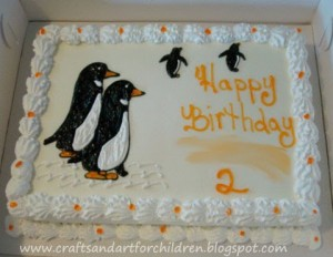 Penguin Birthday Party Ice Cream Cake