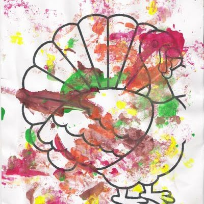 Toddler Thanksgiving Turkey Painting