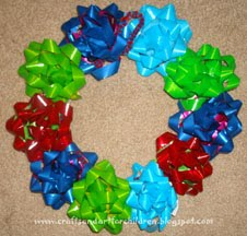 Recycled Christmas Bow Wreath