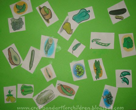 color green fruit vegetable collage activity for preschoolers