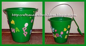 Decorating a pail for an Easter egg hunt