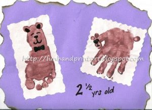 Handprint  Bear & Footprint Teddybear Craft