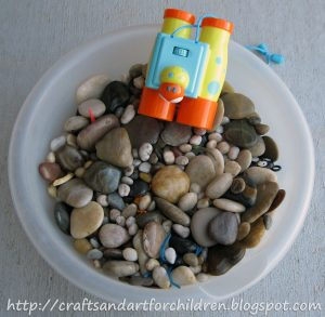 Spring or Summer Rock Sensory Bin Exploration For Exploring