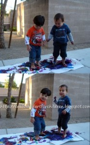 Painting with feet activity and craft for kids