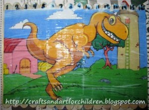 Dinosaur Popsicle Stick Puzzle ~ stART - Artsy Momma