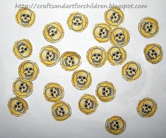 picture about Gold Coin Template Printable titled Pirate Crafts and a Treasure Hunt - Artsy Momma