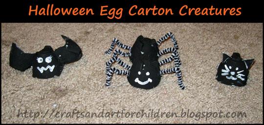 halloween egg carton creatures spider bat black cat - Halloween Cartons
