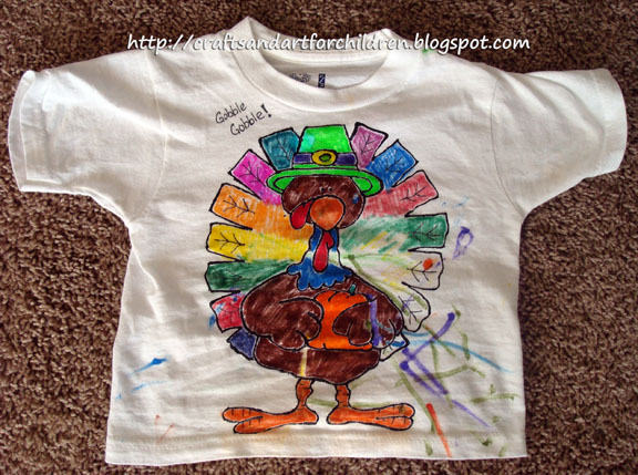 Kids Turkey Hat Craft Handmade Color Your Own Thanksgiving T Shirt