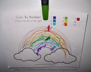 Color By Number Rainbow printable
