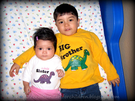 Handmade Bog Brother and Little Sister Shirts - freezer paper stencil