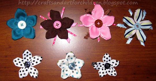 Handmade Ribbon Flower Clips