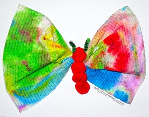 Pom Pom Clothespin Caterpillar to Butterfly Craft