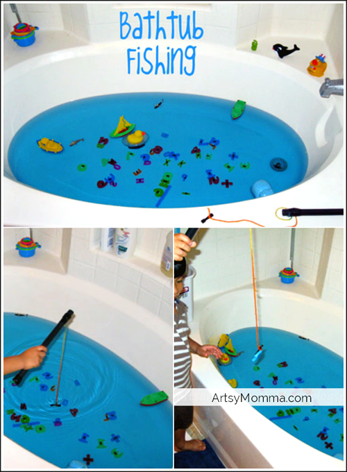 DIY Bathtub Fishing Game using Magnets