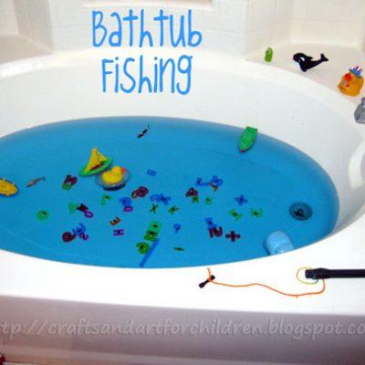 Bathtub Fishing- Make your own fishing game!