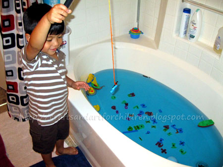 Bathtub fishing make your own fishing game artsy momma for Good places to go fishing near me