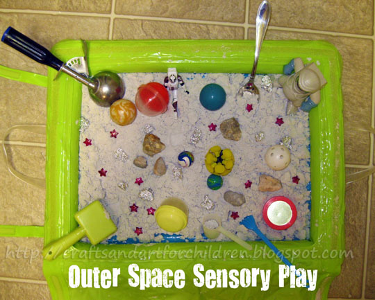 Outer Space Sensory Exploration Bin with Moon Sand