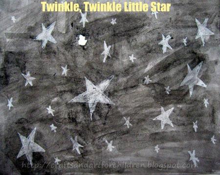 Twinkle Twinkle Little Star Watercolor Resist Art