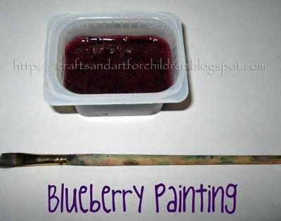 Painting with Blueberries Kids Activity
