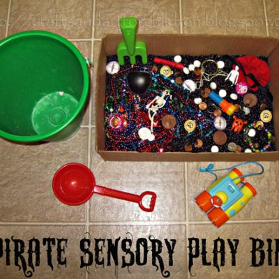 Pirate Sensory Play Bin | Talk Like a Pirate Day Idea