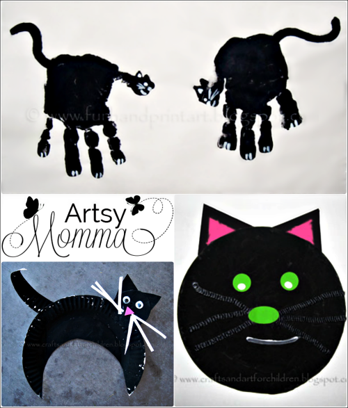 Kids Black Cat Craft for Halloween