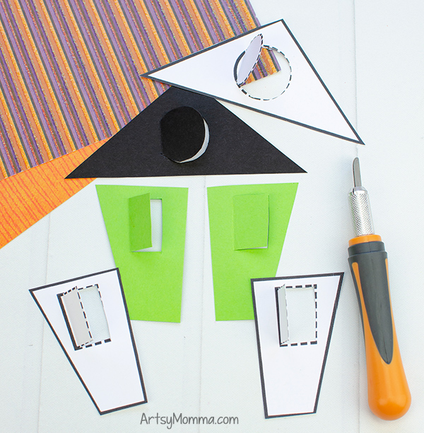 Lift the Flap Windows for Halloween House - 1 folded edge + 3 cut edges