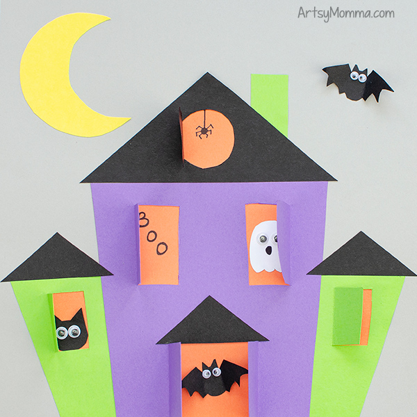 Paper Haunted House Craft with Template
