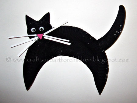 Kids Halloween Craft Paper Plate Black Cat