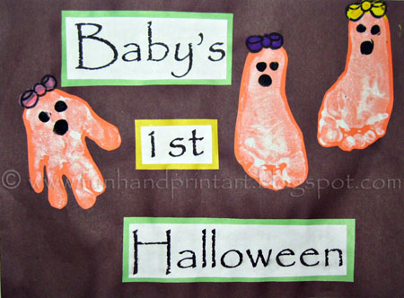 Baby's 1st Halloween Footprint Ghosts Keepsake