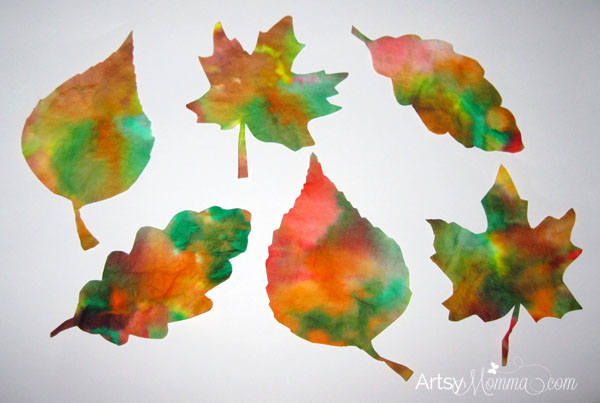 Coffee Filter Leaves - Fall Suncatcher Craft Idea for Kids