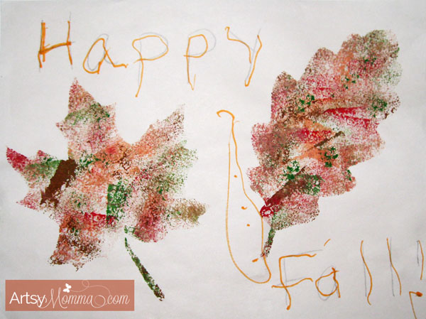 Sponge Painted Leaf Craft for Kids