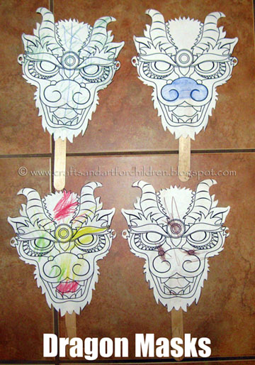 Chinese New Year Dragon Mask Craft or Puppet