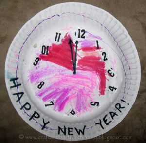 New Year's Paper Plate Clock Craft