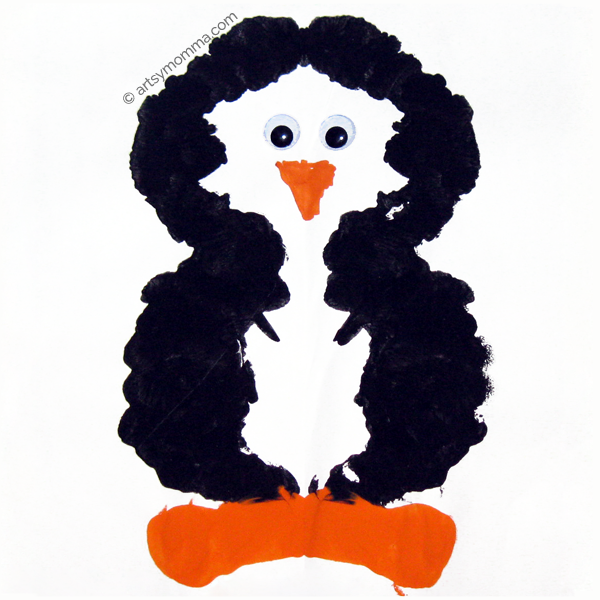 Ink Blot Penguin Symmetry Craft