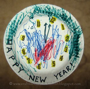 Paper Plate New Year's Clock Craft for Kids