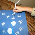 Painting Snowflakes with a Homemade Straw Stamp