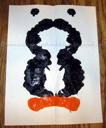Kids Symmetry Craft: Ink Blot Penguin Painting