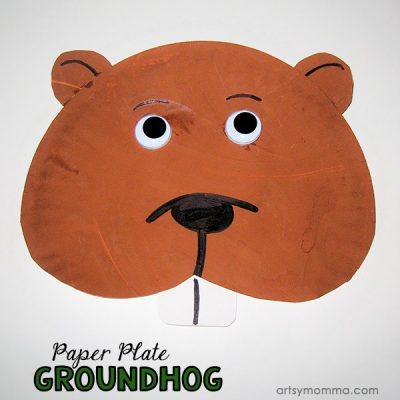 Paper Plate Groundhog Face Craft For February