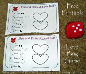Free Printable ROll-a-Love-Bug Game for Kids