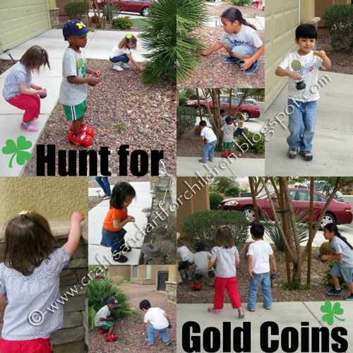 Searching for chocolate gold coins.