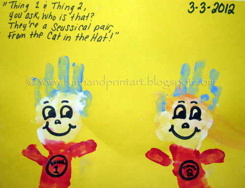 Handprint Thing 1 and Thing 2 Craft