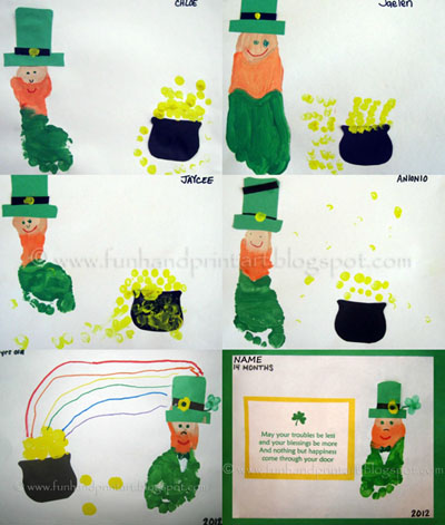 St Patrick's Day Crafts for kids: Footprint Leprechaun