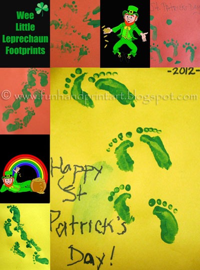 Use your hand to make wee leprechaun footprints
