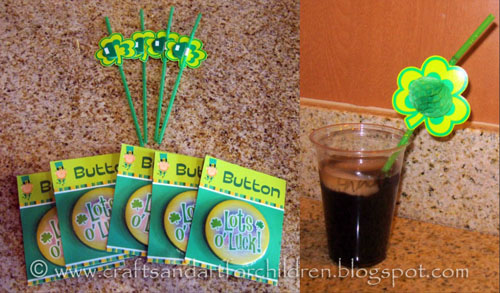 St Patrick's Day Party Favors for Kids: party straws and buttons