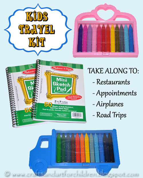 Fun and simple TRAVEL KIT for kids with the cutest mini crayon sets from Melissa and Doug. Boredom Buster for road trips, restaurants, etc.