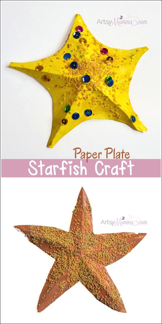 3D Paper Plate Starfish Craft using a free template