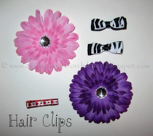 Handmade hair bows and flower clips