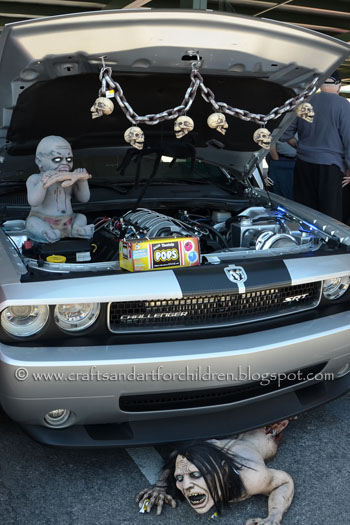Creepy Car decorated for trunk-or-treat Halloween event