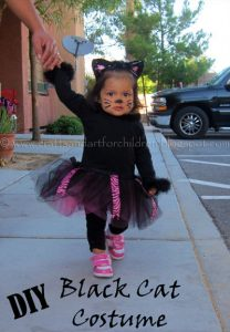 DIY Black Cat Costume for Kids #tutu